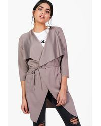 Boohoo Gray Eloise Belted Duster