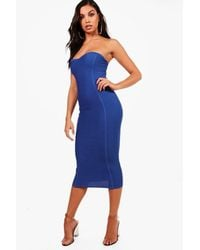 bb0d1cb9e9bf Lyst - Boohoo Gia Bandeau Bandage Midi Bodycon Dress in Blue