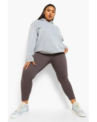 Leggings En Canalé Gordo Plus Boohoo de color Gray