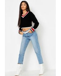 Boohoo - Black Cropped Contrast Trim Cricket Sweater - Lyst