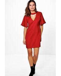Lyst - Boohoo Doris Choker Neck Plunge Shift Dress 7f16ad89b