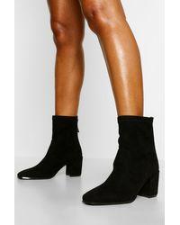 Boohoo Black Block Heel Sock Boot