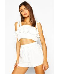 Boohoo Womens Tie Strap Ruffle Detail Short Co-ord Set - White - 8