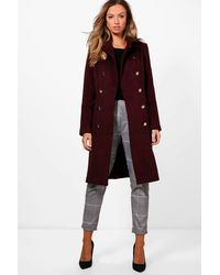 Boohoo Red Ruby Double Breasted Wool Look Coat