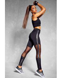 Boohoo Black Womens Fit Booty Boost Mesh Insert Gym Leggings