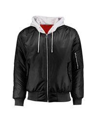 Boohoo Black Oversized Hooded Ma1 Bomber Jacket for men