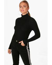 Boohoo - Black Lauren Rib Knit Roll Neck Jumper - Lyst