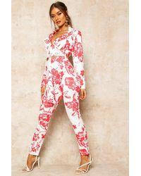 Boohoo Red Womens Kurze High-Waist Hose mit Blumenmuster