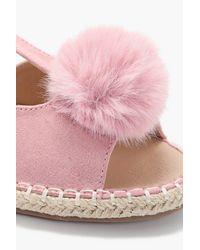 Boohoo Pink Imogen Faux Fur Pom Espadrille