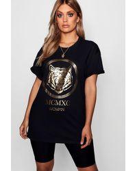 T-Shirt À Imprimé Métallique Tigre Plus Boohoo en coloris Black