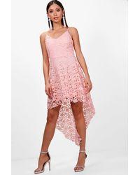 Boohoo Pink Boutique Lacey Lace Dip Hem Skater Dress
