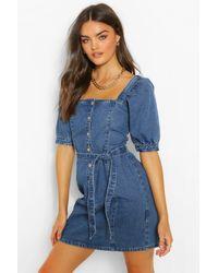 Boohoo Blue Womens Denim-Kleid Mit Puffärmeln, Knopfleiste Und Gürtel