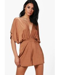 Boohoo Brown Kimono Style Belted Playsuit