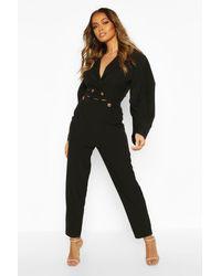 Pantalon Fuselé Et Tissé Boutonné Boohoo en coloris Black
