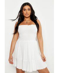 Robe De Plage Patineuse Bandeau Transparente Plus Boohoo en coloris White