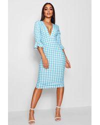Boohoo Blue Plunge Neck Gingham Midi Dress