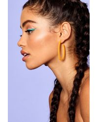Boohoo - Orange Skinny Hoop Resin Earrings - Lyst