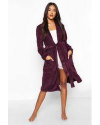 Boohoo Purple Womens Weicher Fleece-Morgenmantel - Pflaumenblau - 16/18, Pflaumenblau