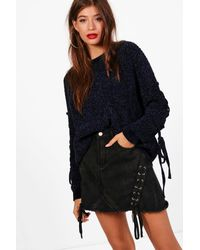 Boohoo - Blue Millie Lace Up Sleeve Chenille Jumper - Lyst