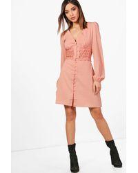Boohoo Pink Lace Waist Trim Shirt Dress
