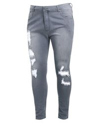 Boohoo Gray Big And Tall Distressed Ankle Detail Skinny Jean for men
