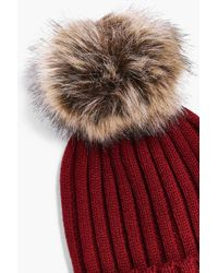 Boohoo - Red Laura Rib Knit Faux Fur Pom Beanie Hat - Lyst