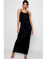 Boohoo Black Double Layer Crinkle Maxi Dress