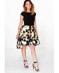 Boohoo - Black Boutique Floral Sateen Dip Hem Skater Dress - Lyst