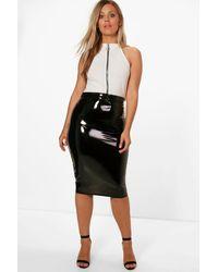 3c7961fb8 Boohoo Plus High Shine Pu Midi Skirt in Black - Lyst