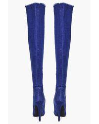 Boohoo Blue Angel Denim Frayed Thigh High Boot