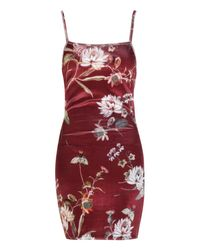 Boohoo Red Floral Velvet Strappy Back Bodycon Dress