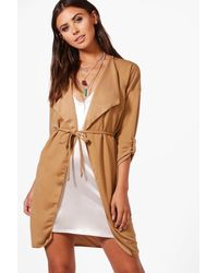 Boohoo Multicolor Petite Waterfall Ruched Back Belted Duster