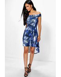 Boohoo Blue Honest Floral Dip Hem Midi Skater Dress