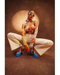Boohoo Orange Womens Bandeau-Oberteil Mit Neckholder Und Marmoriertem Print