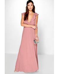 Boohoo Pink Frill Wrap Detail Chiffon Maxi Dress