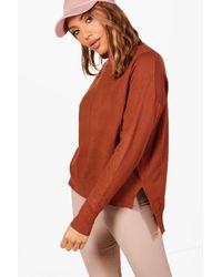 Boohoo Brown Lily Soft Knit Dip Hem Polo Neck