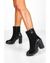 Boohoo Black Womens Gdressing gown Chelsea-Stiefel aus gemischten Materialien mit Plateau-Sohle