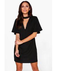 Boohoo Black Thea Choker Flute Sleeve Shift Dress