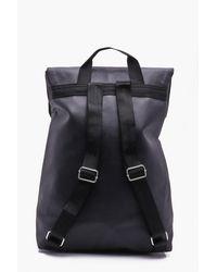 Boohoo Black Pu Fold Over Strap Backpack for men