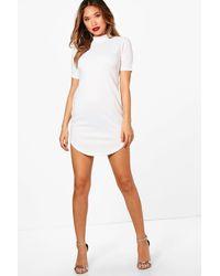 Boohoo White Ribbed Curved Hem High Neck Bodycon Dress