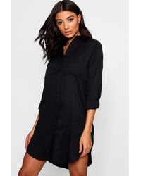 Boohoo Black Double Placket Woven Shirt Dress