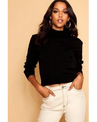 Boohoo Womens Roll Neck Crop Sweater - Black - Xl