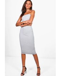 Boohoo Gray Tall Valentina Bandeau Top & Skirt Co-ord