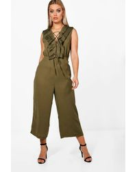 Boohoo Green Plus Ruffle Lace Up Front Culotte Jumpsuit