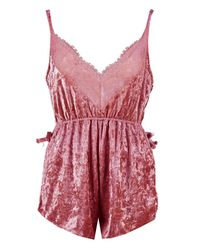 Boohoo - Pink Velour Lace Plunge Teddy - Lyst