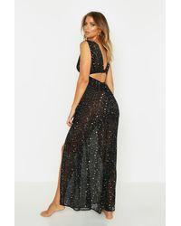 Boohoo Womens Star Plunge Cut Out Maxi Beach Dress - Black - S