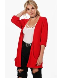 Boohoo - Red Amber Loose Knit Slouchy Pocket Cardigan - Lyst