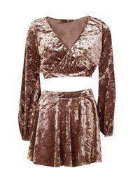 Boohoo Brown Velvet Wrap Crop And Wrap Over Skirt