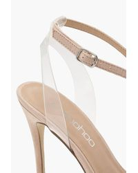 Boohoo Natural Pointed Toe Clear Strap Heels