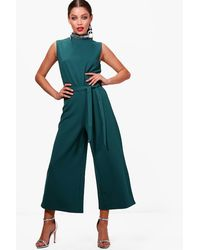 Boohoo - Green Lottie High Neck Culotte Jumpsuit - Lyst
